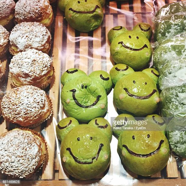 High Angle View Of Pastries With Smiley Face For Sale