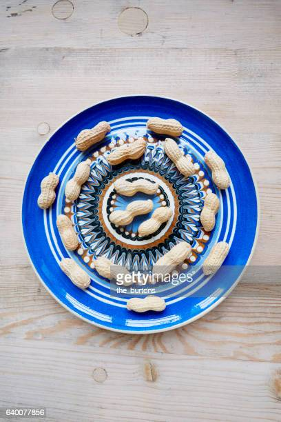 High angle view of peanuts on plate