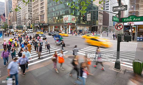 High angle view of pedestrian crossing at junction of fifth avenue, New York City, New York, USA