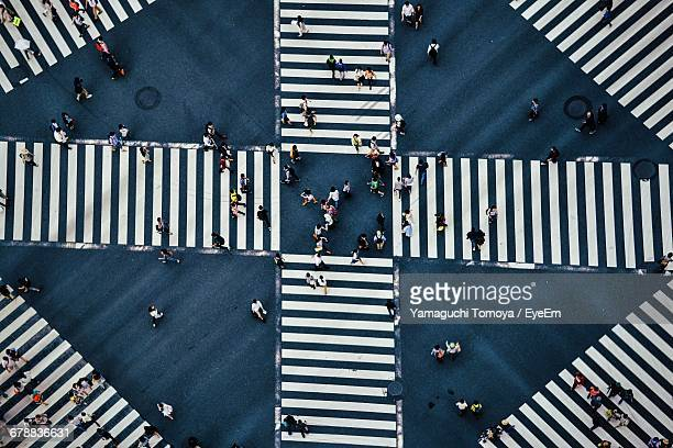 high angle view of pedestrian crossing - crossroad stock pictures, royalty-free photos & images