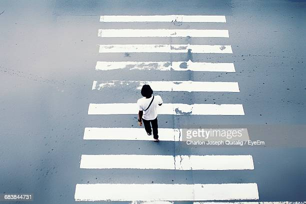 High Angle View Of Pedestrian Crossing Zebra