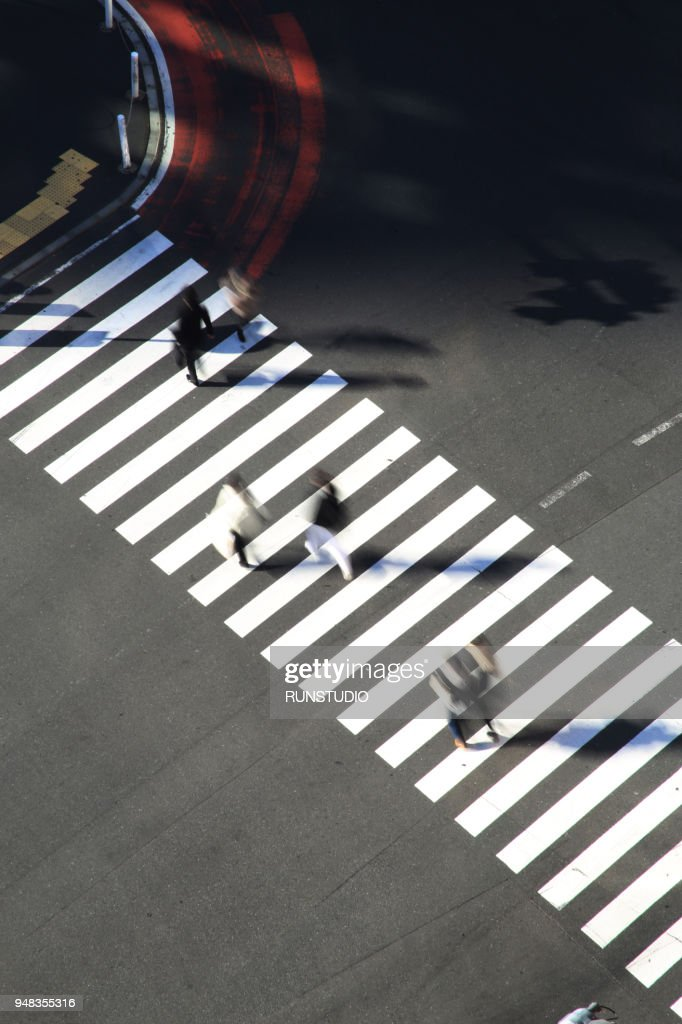 High angle view of pedestrians crossing Shibuya street : Stock Photo
