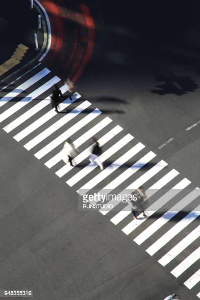 high angle view of pedestrians crossing shibuya street - pedestrian crossing stock photos and pictures