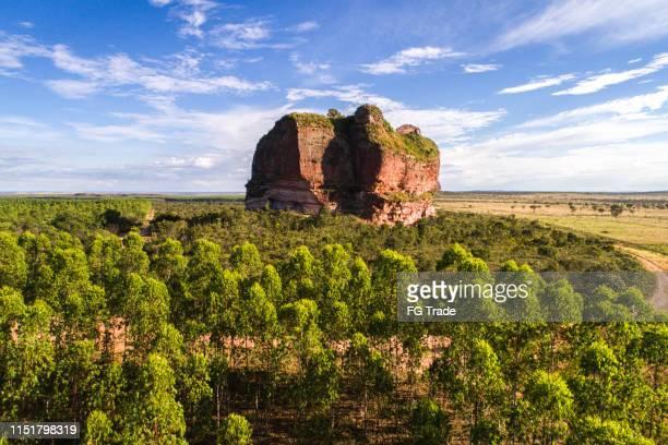 blick auf den berg pedra furada im jalapão state park, tocantins - hügelkette stock-fotos und bilder