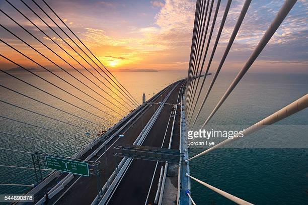 High angle view of Penang second bridge