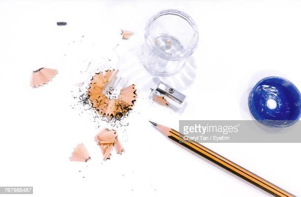 High Angle View Of Pencil And Sharpener On Table
