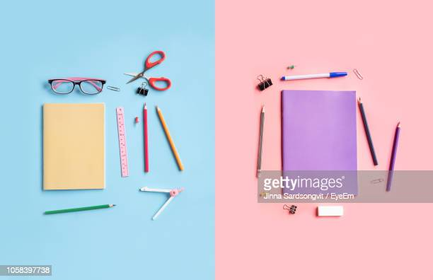 high angle view of pencils and book on table - art and craft stock pictures, royalty-free photos & images