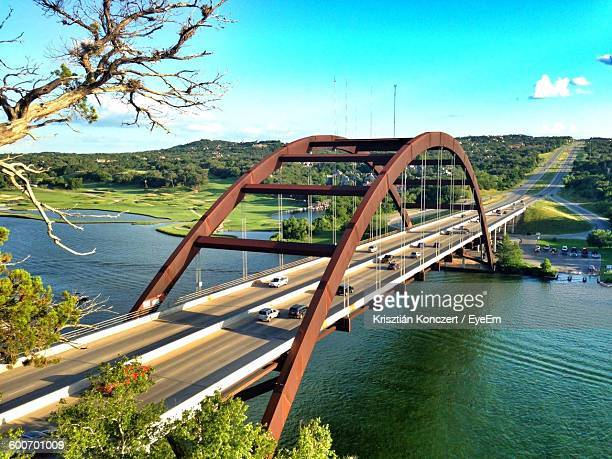 High Angle View Of Pennybacker Bridge Over River Against Sky