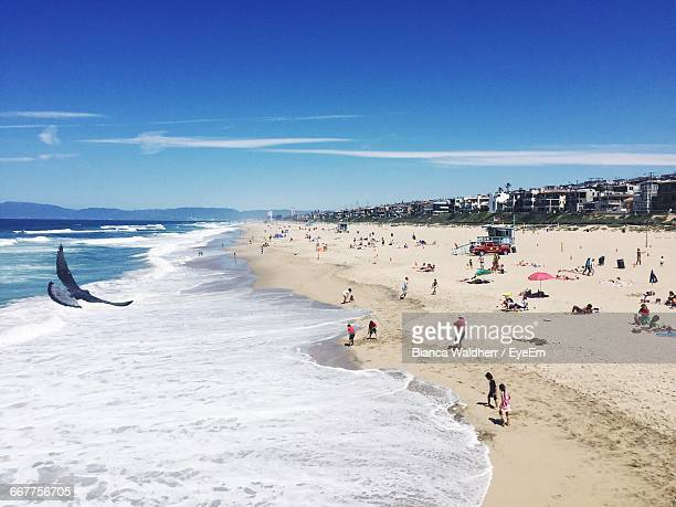 High Angle View Of People At Beach Against Blue Sky