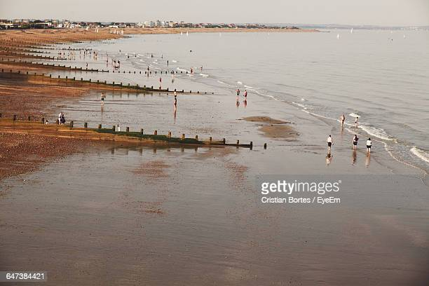 high angle view of people at beach - bortes cristian stock-fotos und bilder