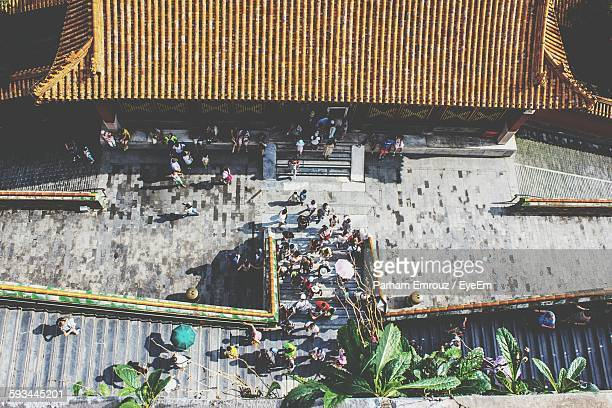 high angle view of people at historic forbidden city - parham emrouz stock pictures, royalty-free photos & images