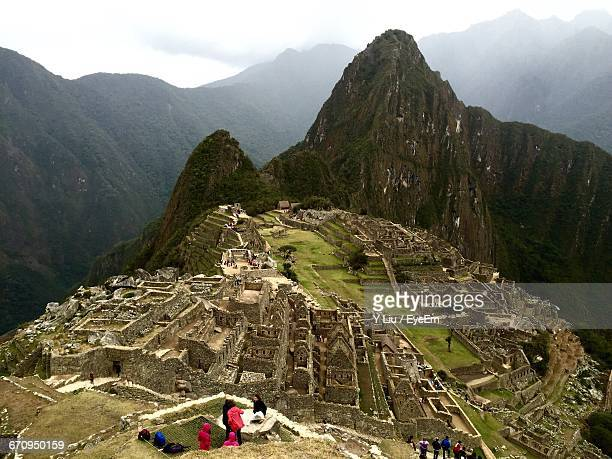 High Angle View Of People At Historic Machu Picchu