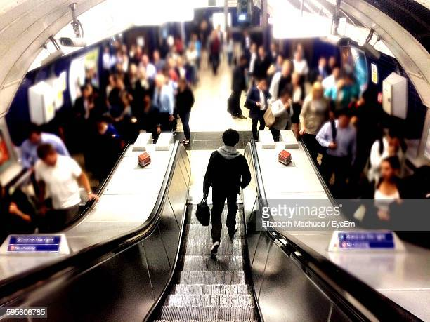 High Angle View Of People At London Underground