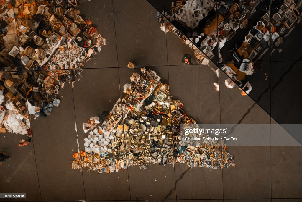 High Angle View Of People At Market In City : Stock Photo