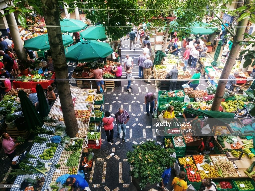 High Angle View Of People At Market : Stock Photo