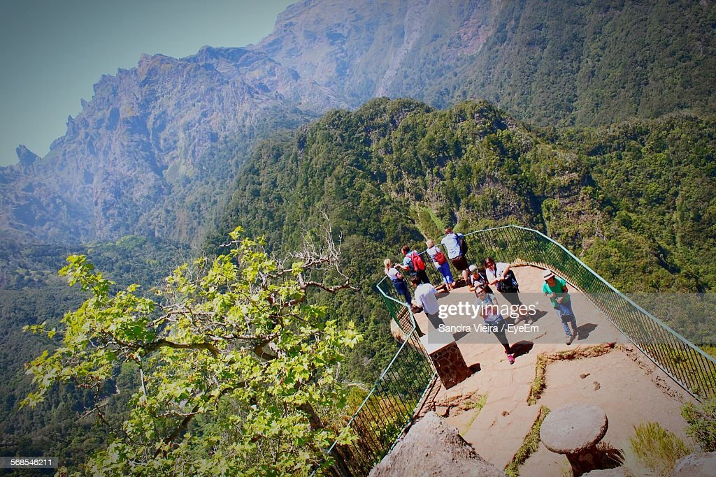 High Angle View Of People At Observation Point Against Mountains : Foto de stock