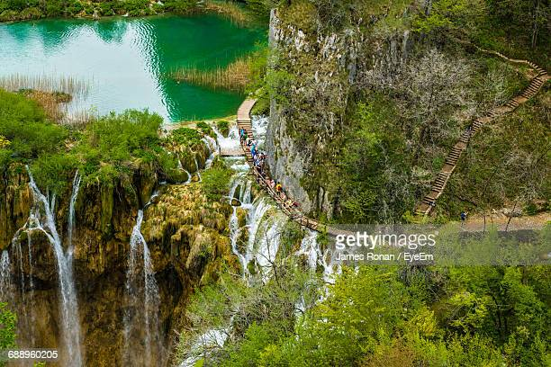 High Angle View Of People At Plitvice Lakes National Park