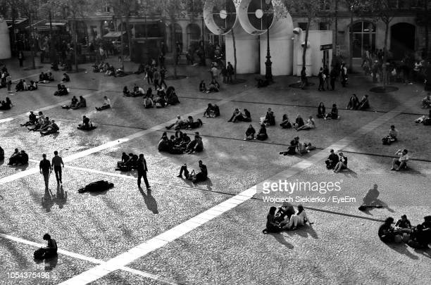 high angle view of people at pompidou center - centre georges pompidou stock pictures, royalty-free photos & images