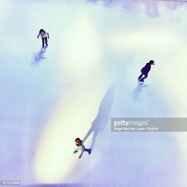 High angle view of people at skating rink