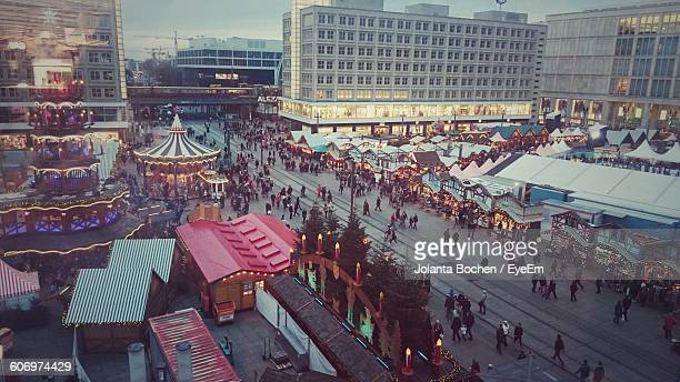 High Angle View Of People At Street Market During Christmas