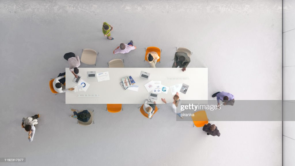 High angle view of people at work : Stock Photo