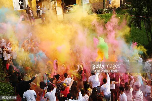 High Angle View Of People Celebrating Holi Festival
