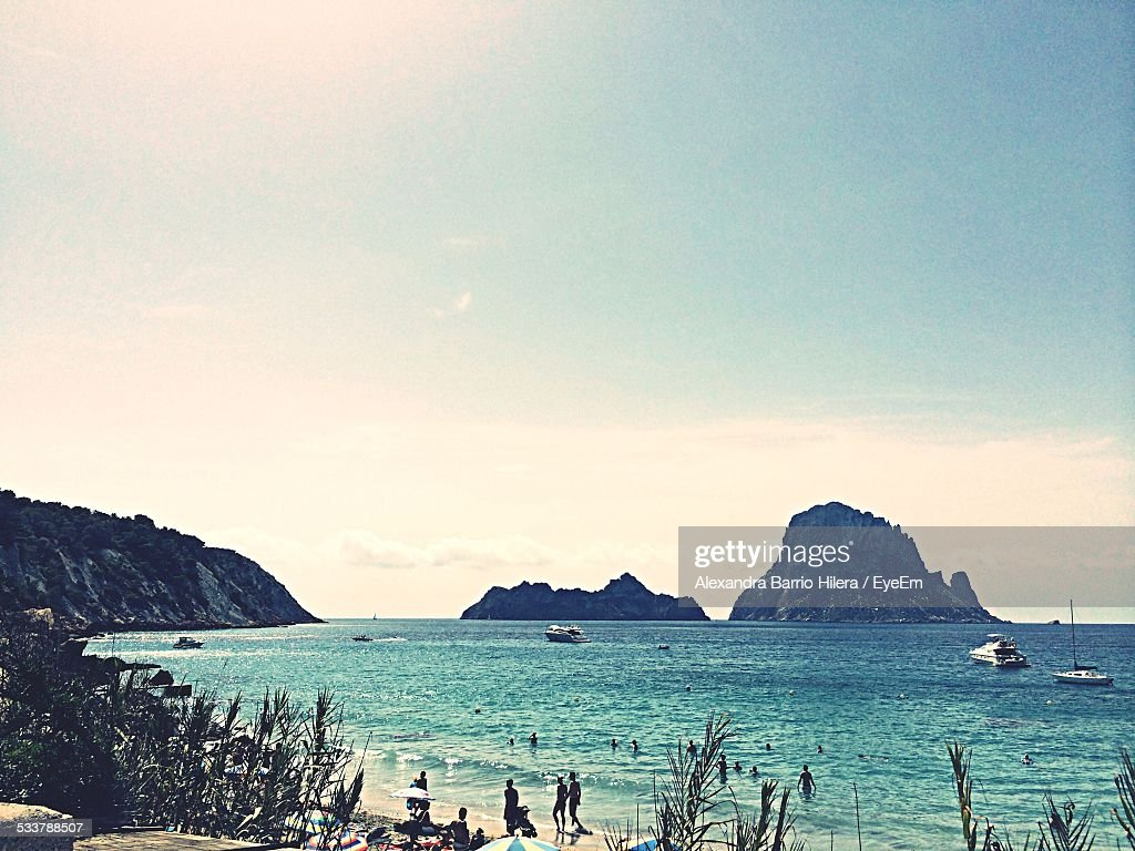 High Angle View Of People Enjoying At Beach : Foto stock