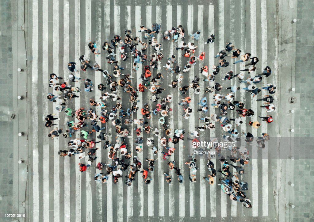 High Angle View Of People forming a speech bubble : Foto stock