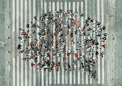 High Angle View Of People forming a speech bubble 1070513916