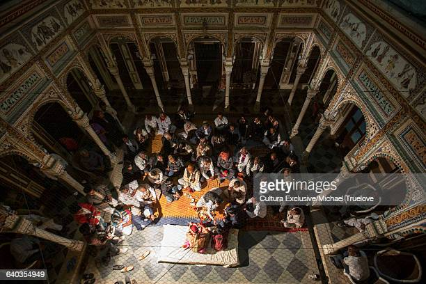High angle view of people gathering in temple, Deshnoke, Bikaner, Rajasthan, India