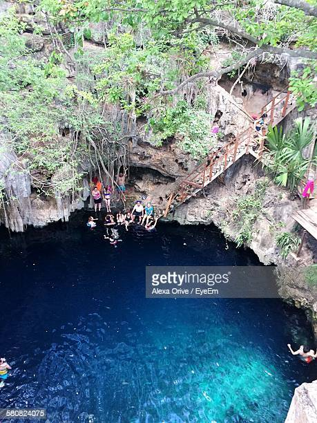 High Angle View Of People In Cenote