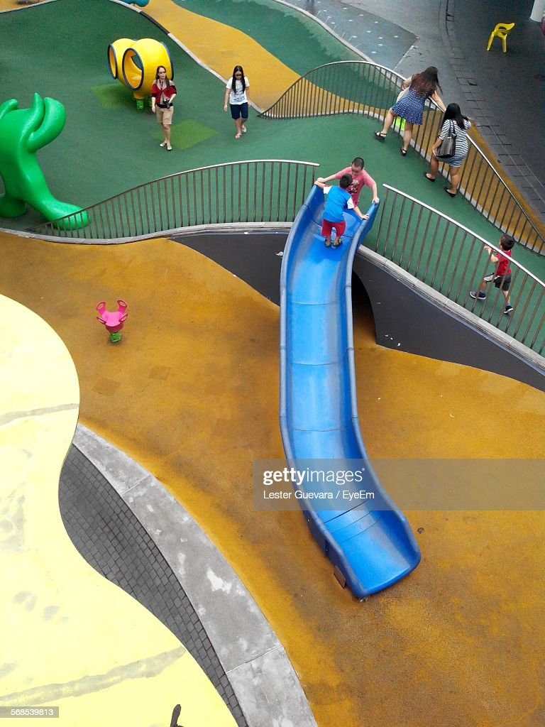 High Angle View Of People In Park : Stock Photo