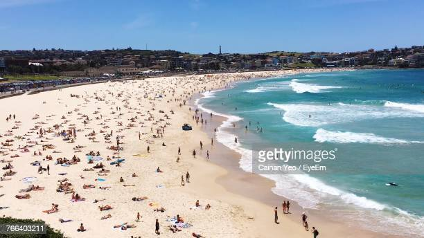high angle view of people on beach - bondi beach stock pictures, royalty-free photos & images