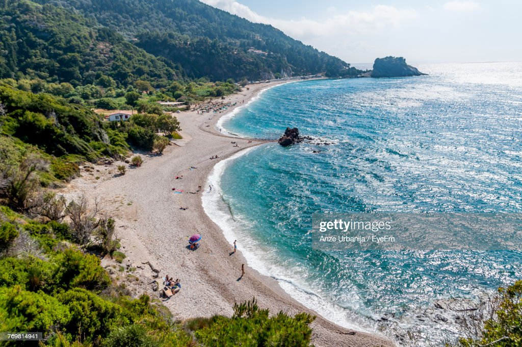 High Angle View Of People On Beach : Stock Photo