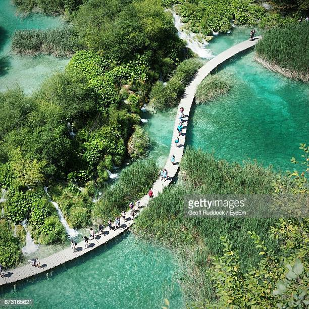 High Angle View Of People On Boardwalk At Plitvice Lakes National Park