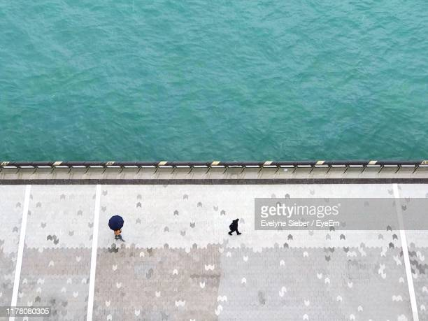 high angle view of people on promenade - tsim sha tsui stock pictures, royalty-free photos & images