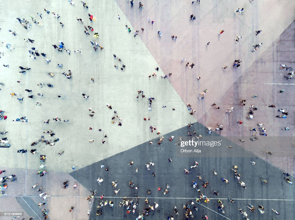High Angle View Of People On Street : Stock Photo