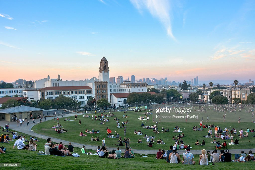 High Angle View Of People Relaxing Dolores Park : Stock Photo