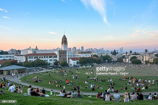 High Angle View Of People Relaxing Dolores Park