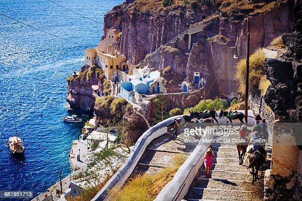 high angle view of people riding donkey on staircase at santorini - esel stock-fotos und bilder