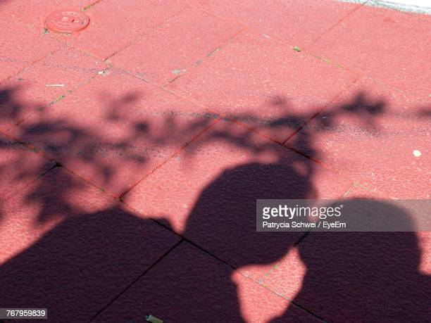 High Angle View Of People Shadow On Footpath