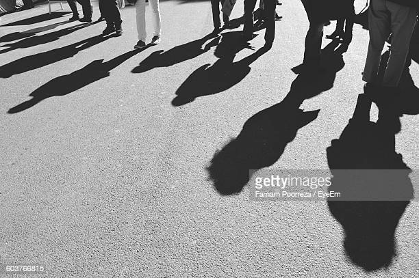 High Angle View Of People Shadow On Road