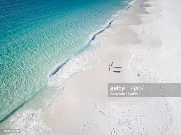 High Angle View Of People Standing At Beach