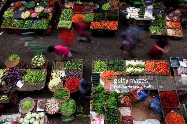 High Angle View Of People Standing In Market