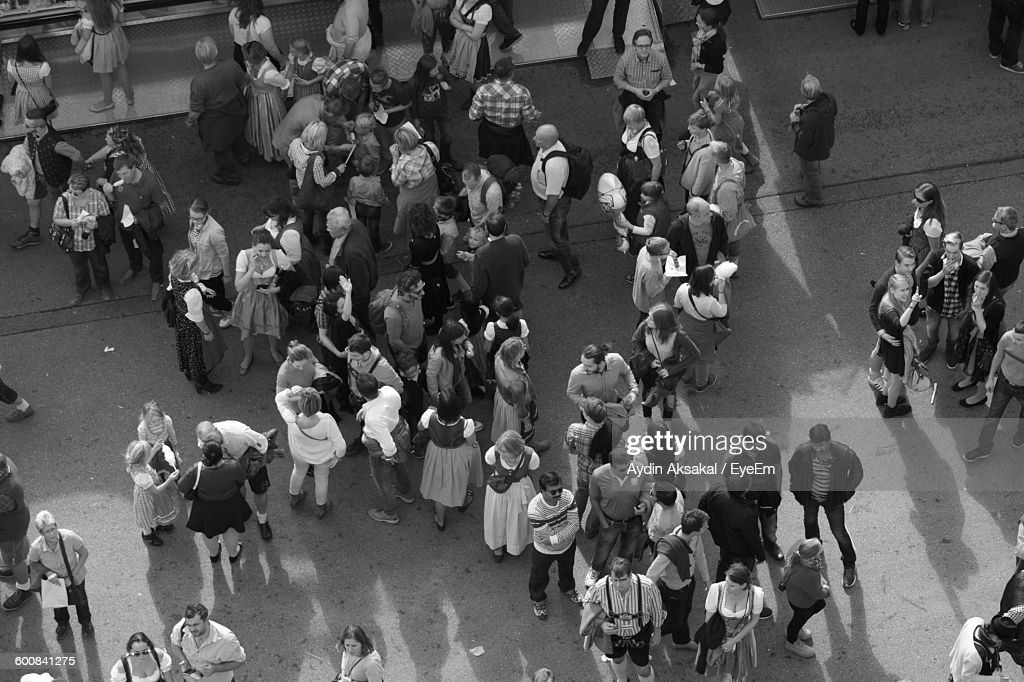 High Angle View Of People Standing On Street : Foto de stock