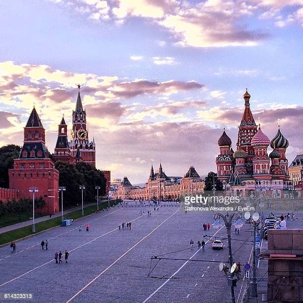 High Angle View Of People Walking At Red Square
