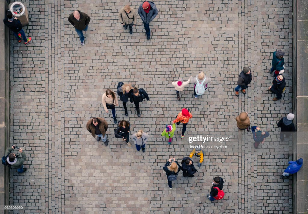 High Angle View Of People Walking On Bridge : Stock Photo
