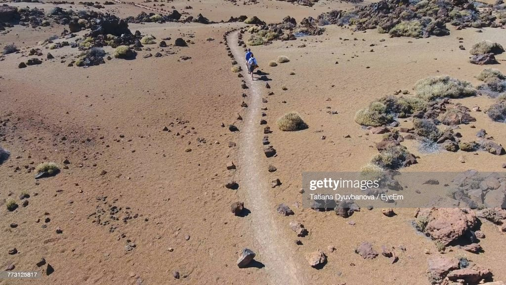 High Angle View Of People Walking On Pathway : Photo