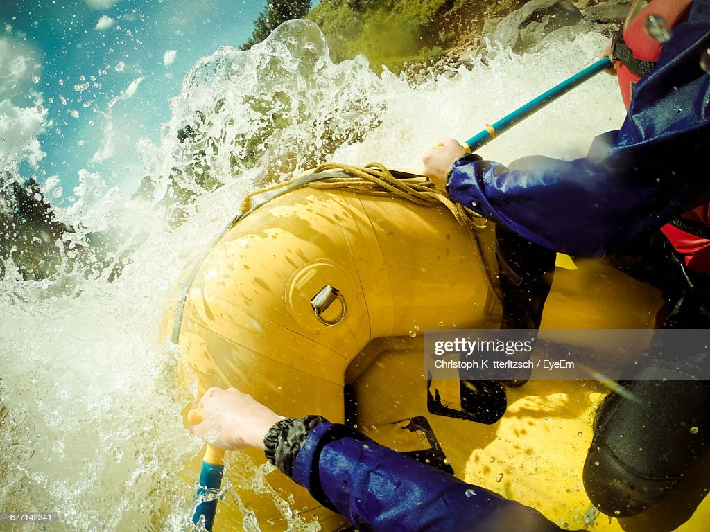 High Angle View Of People White Water Rafting In River : Foto de stock