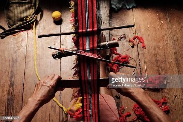 high angle view of person doing traditional weaving - tradition stock pictures, royalty-free photos & images